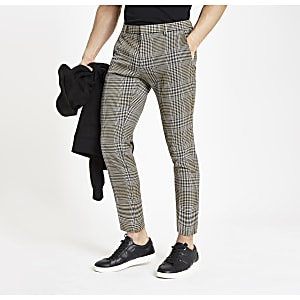 Pantalon court skinny habillé à carreaux marron