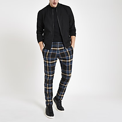Blue tartan skinny smart trousers
