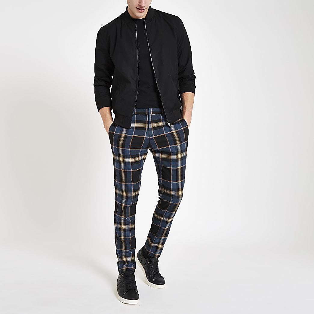 Blue tartan skinny smart trousers