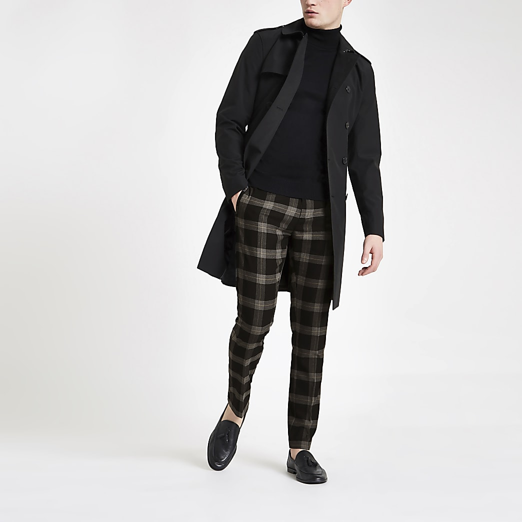 Black check skinny smart trousers