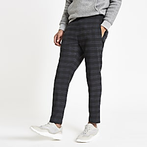 Navy check skinny fit jogger pants
