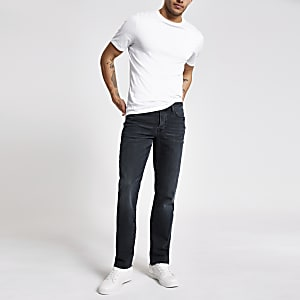 Donkerblauwe distressed jeans met rechte pijpen