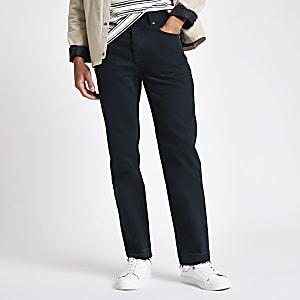 Dunkelblaue Straight Jeans mit unverarbeitetem Saum