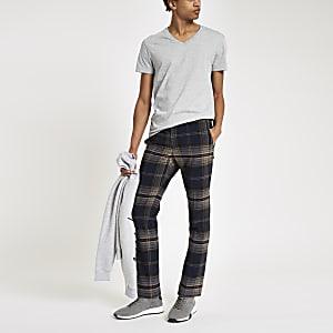 Grau meliertes, kurzärmliges T-Shirt mit V-Ausschnitt