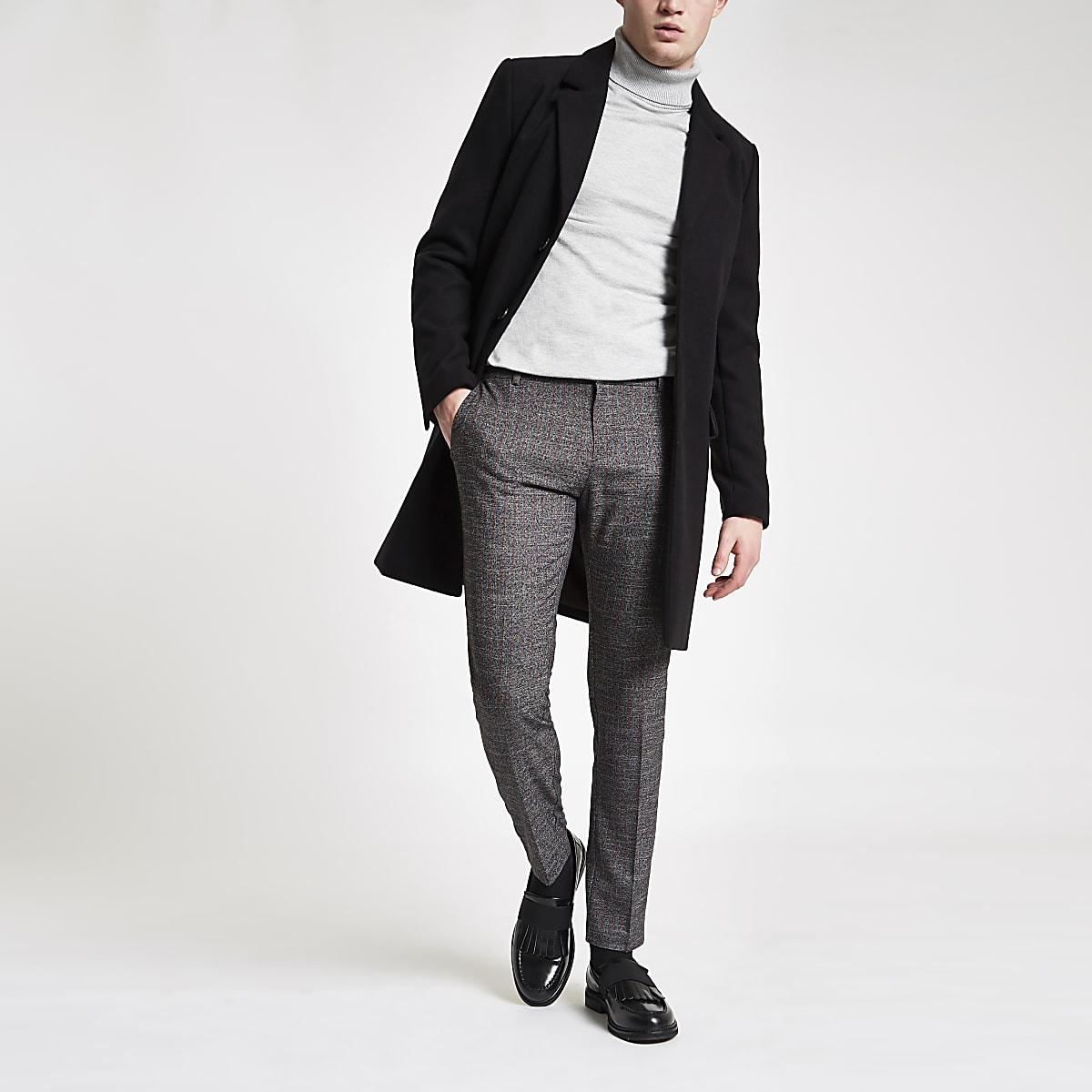Dark grey stripe super skinny smart trousers