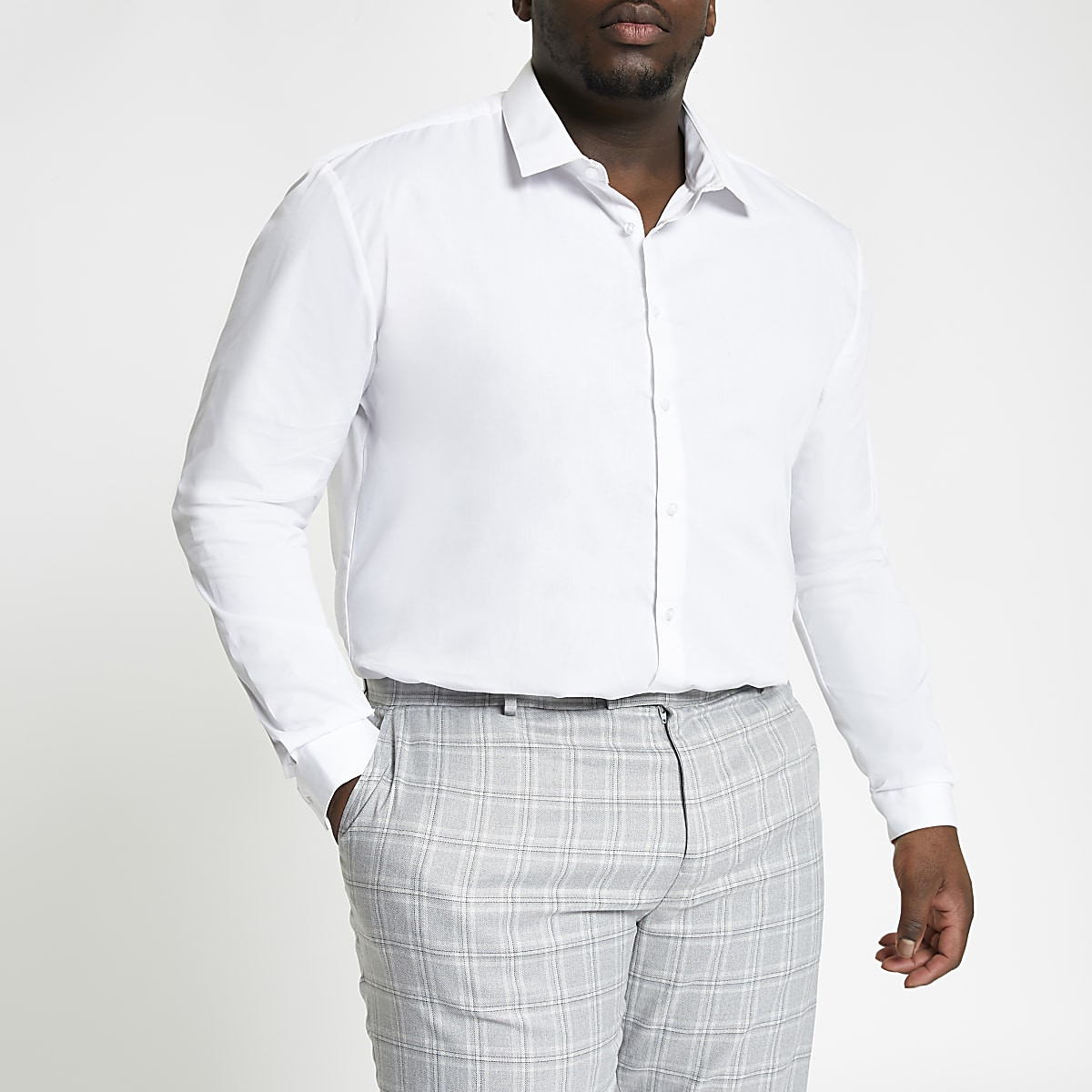 Big and Tall white long sleeve shirt