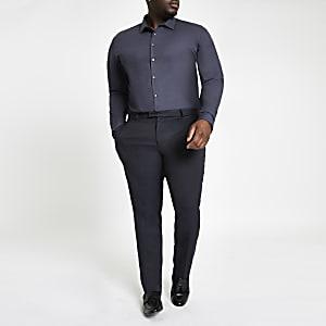 Big & Tall – Marineblaues Langarmhemd