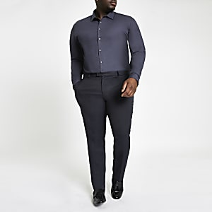 Big and Tall – Chemise bleu marine à manches longues