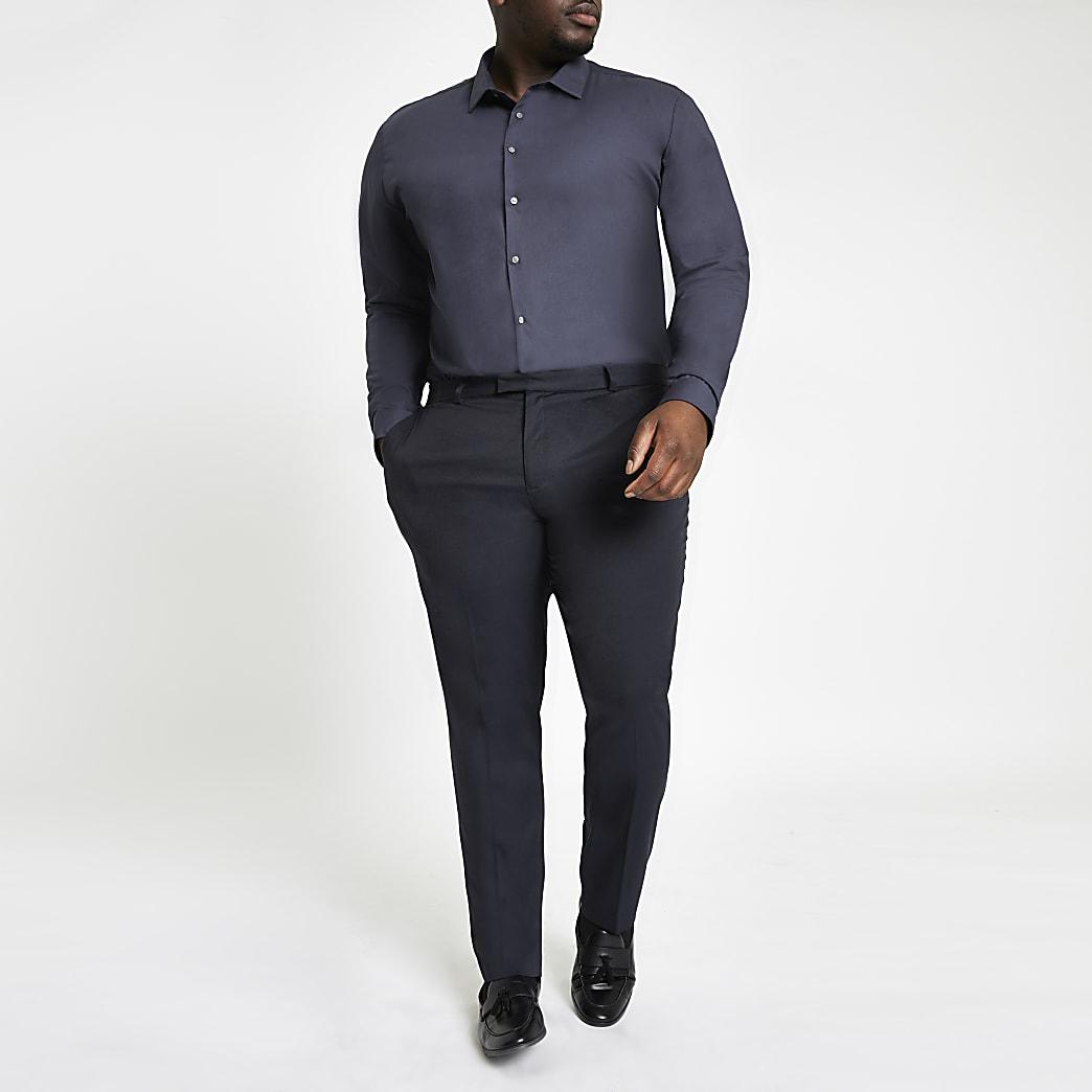 Big and Tall navy long sleeve shirt