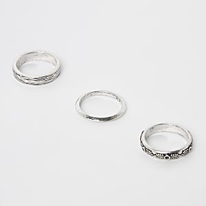 Silberner, strukturierter Ring, 3er-Pack