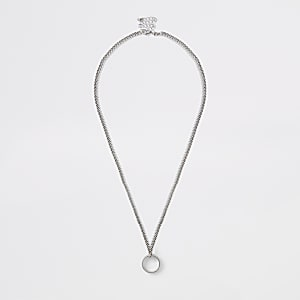 Silver tone chunky chain ring necklace