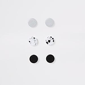 Set van 3 zwarte oorknopjes met marmermotief