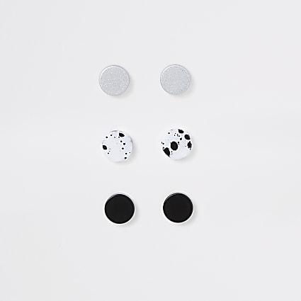 Black plug marble earrings 3 pack