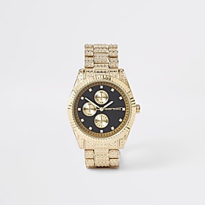 Gold tone diamante encrusted watch