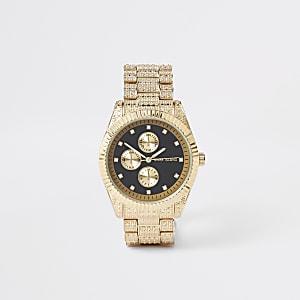 Gold tone diamante encrusted watch