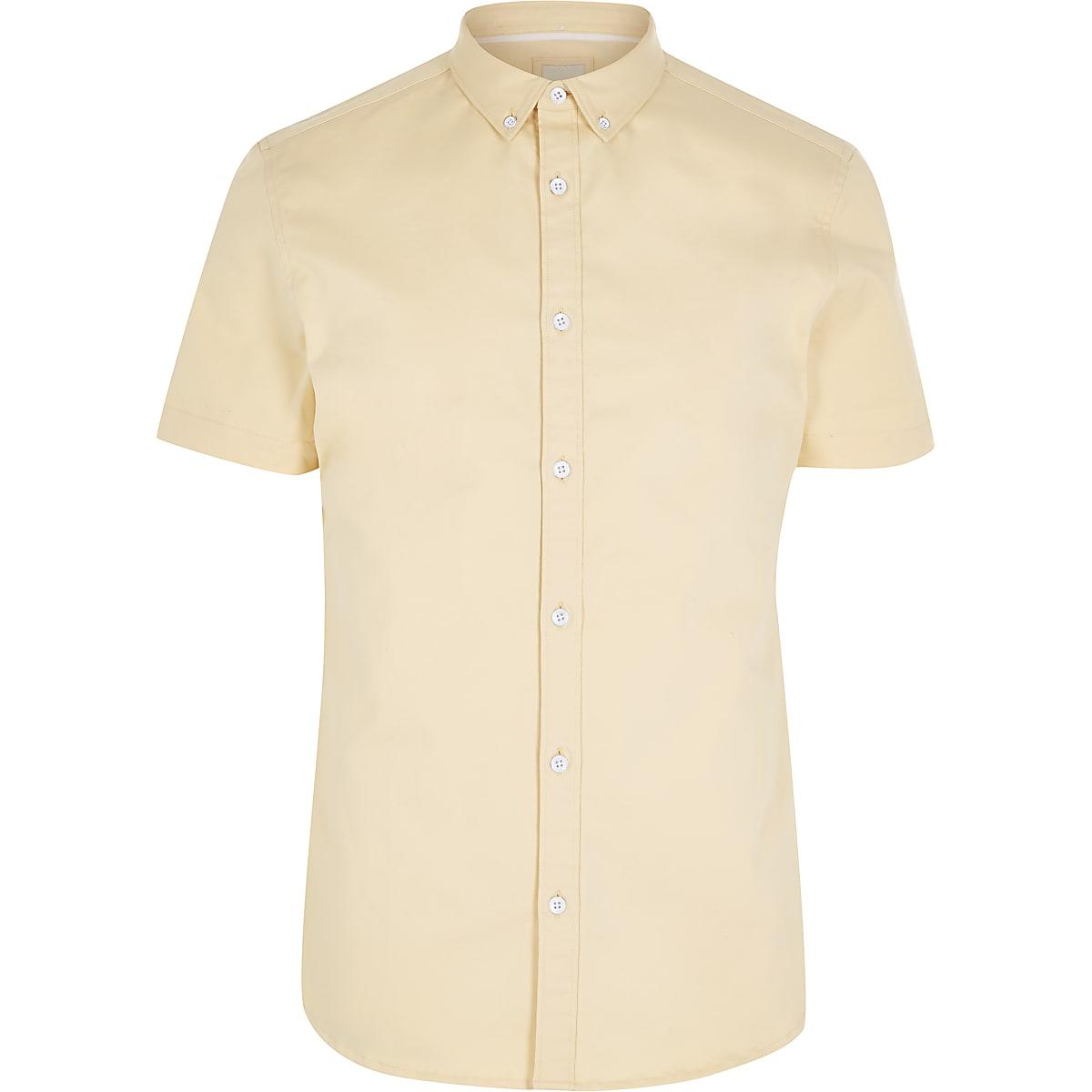 Geel Overhemd Heren.Geel Overhemd Met Korte Mouwen Van Keperstof Overhemden Met Korte
