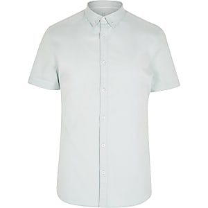 Mint green short sleeve twill shirt