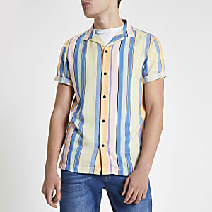 Yellow stripe revere short sleeve shirt