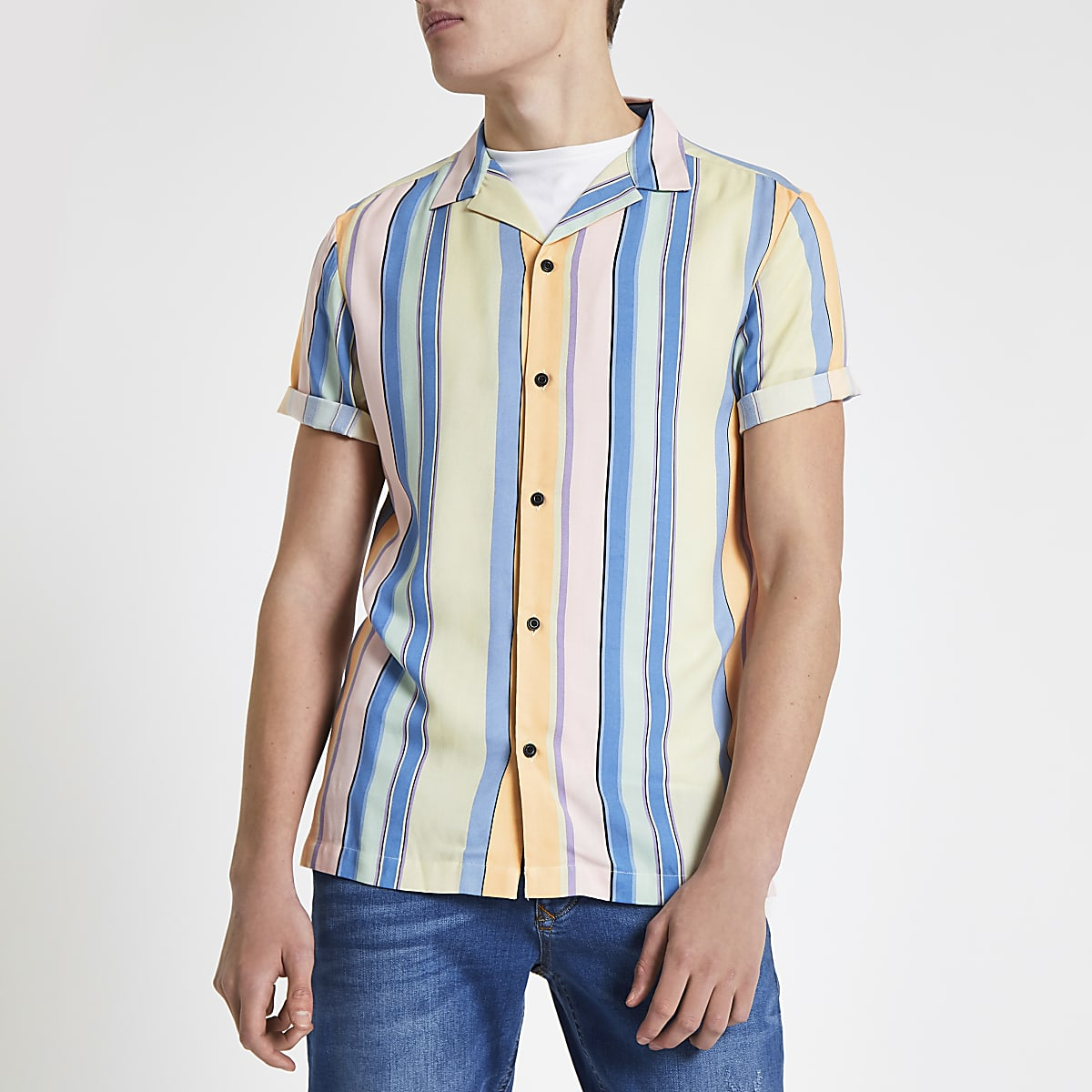 Yellow stripe revere short sleeve shirt