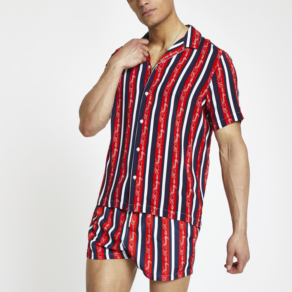 Red R96 stripe short sleeve shirt