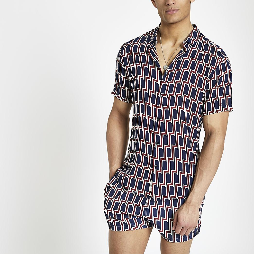 Marineblauw overhemd met geoprint en korte mouwen