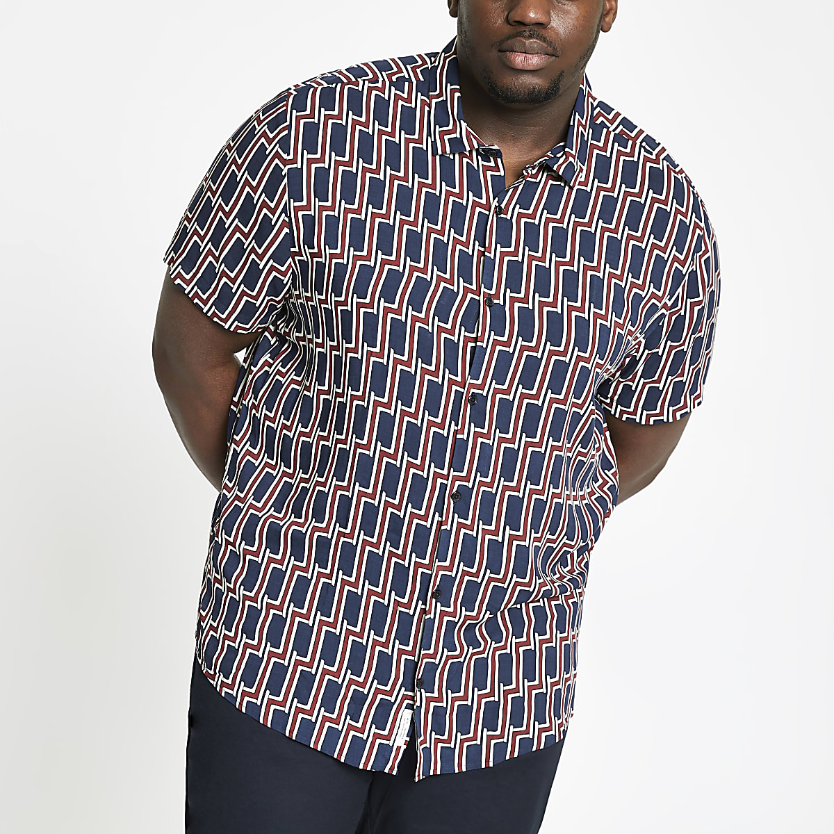 Big and Tall - Marineblauw T-shirt met geoprint