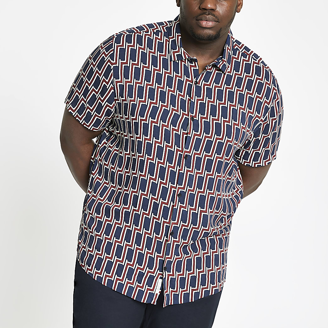 Big and Tall navy geo print shirt