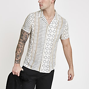 fb9ba571789 Ecru Aztec short sleeve shirt