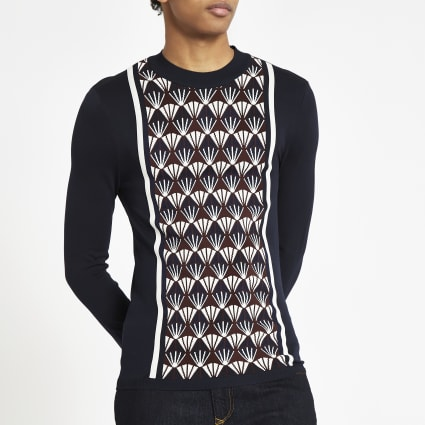 Navy muscle fit geo print blocked jumper