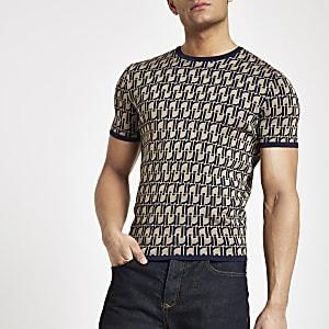 T-shirt ajusté en maille marron à monogramme RI