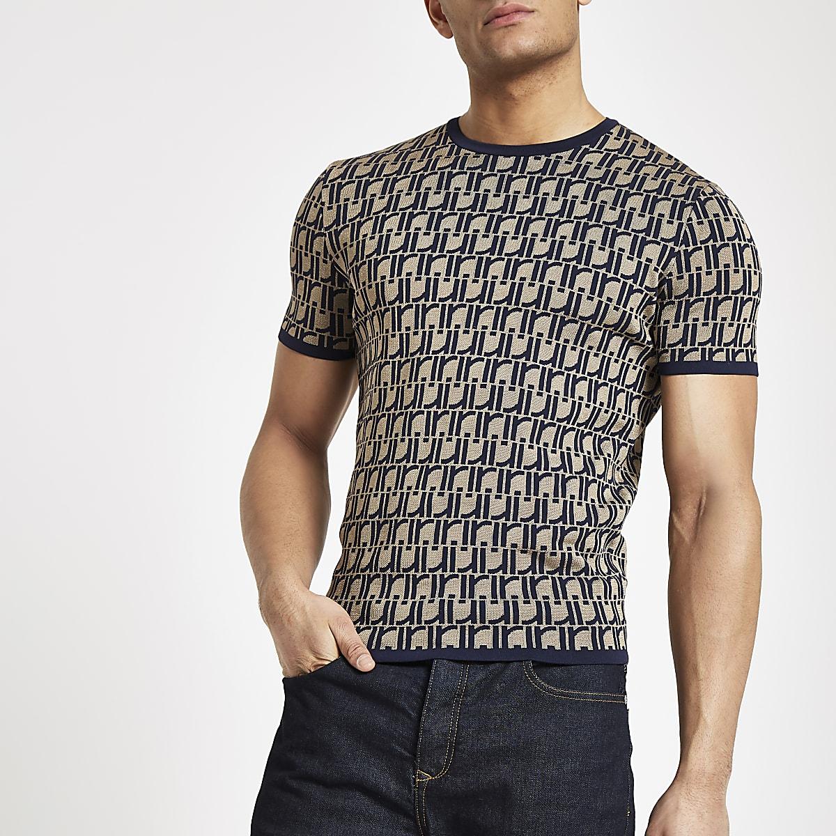 Bruin aansluitend gebreid T-shirt met RI-monogram