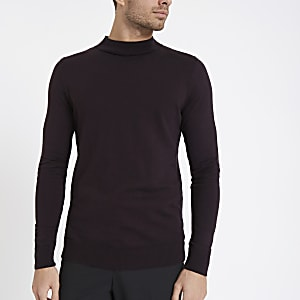 Burgundy muscle fit turtle neck sweater