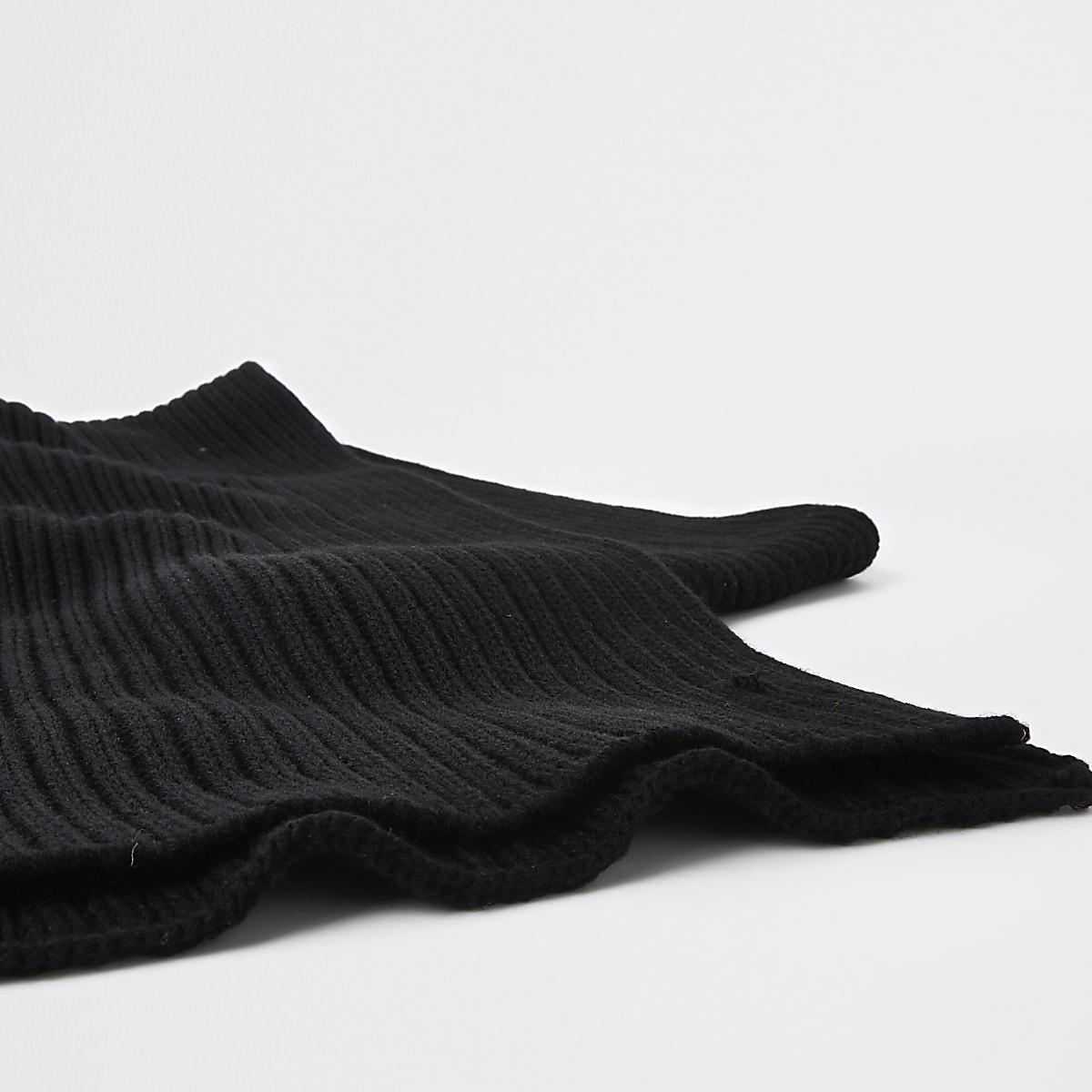 a86bf216c58 Écharpe en maille côtelée noire - Écharpes gants - Accessoires - Homme