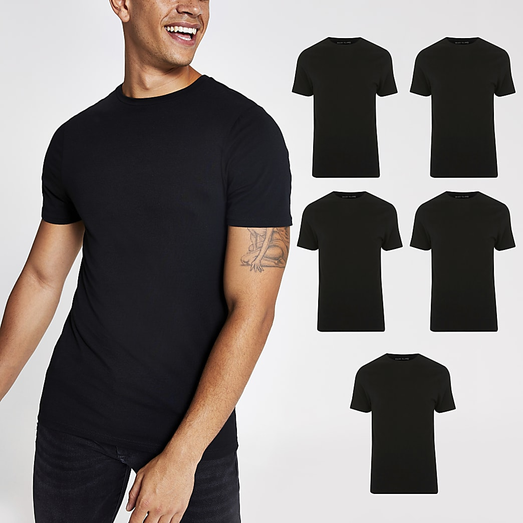 Black muscle fit crew neck T-shirt 5 pack
