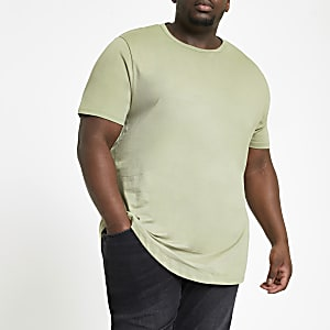 Big and Tall green curve hem T-shirt