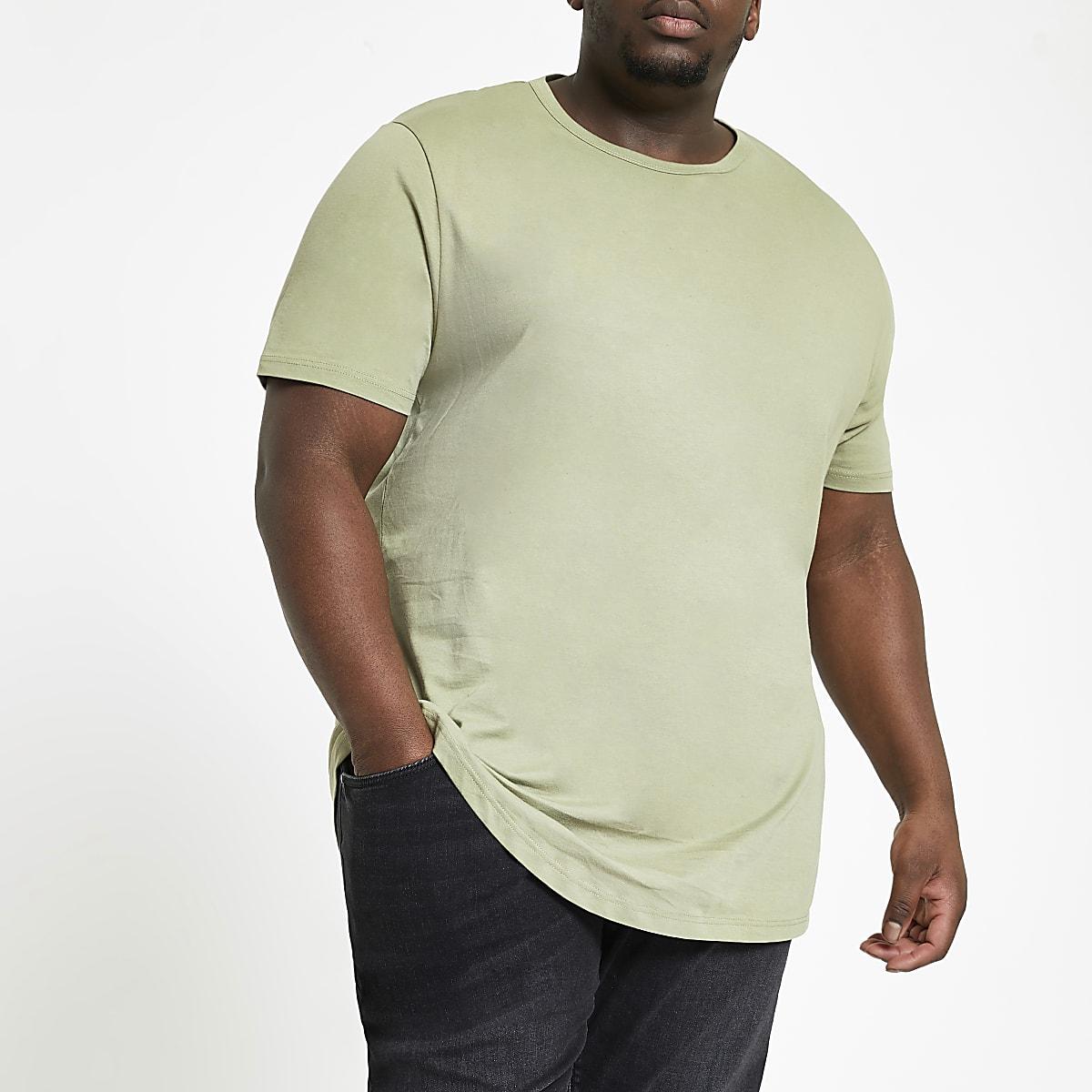 Big & Tall - Groen T-shirt met ronde zoom