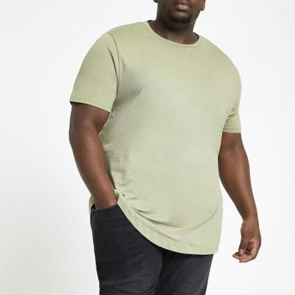Big and Tall green curve hem T-shirt