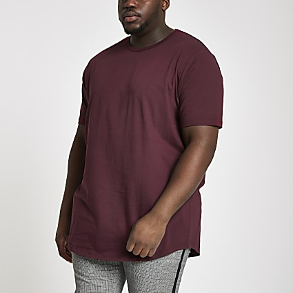 Big and Tall burgundy longline T-shirt