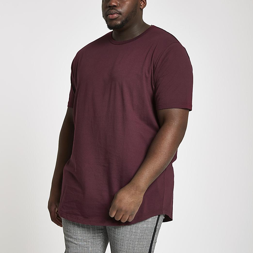 Big and Tall burgundy longline T-shirt