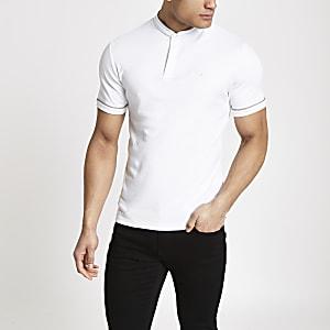 Weißes, kariertes Poloshirt mit Stickerei