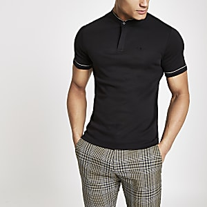 Black check piped wasp embroidered polo shirt
