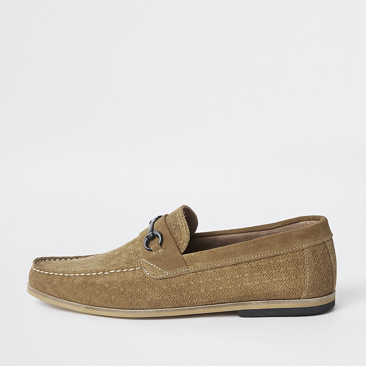 Stone suede embossed snaffle loafers