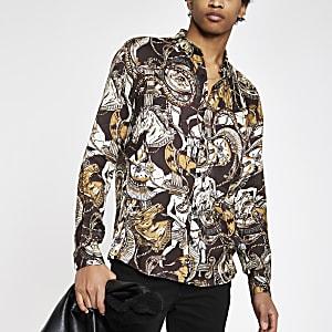 Bruin overhemd met print en knoopsluiting
