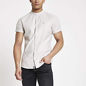Stone grandad collar stretch Oxford shirt