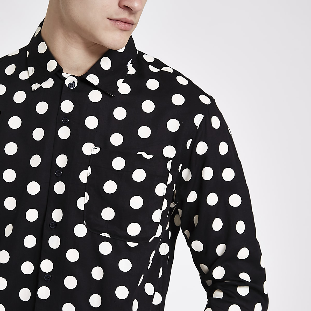 46ca023d8 Bellfield black polka dot button-down shirt - Long Sleeve Shirts - Shirts -  men