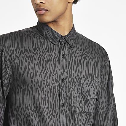 Bellfield black leopard print shirt