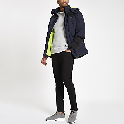 Bellfield colour block padded hooded jacket