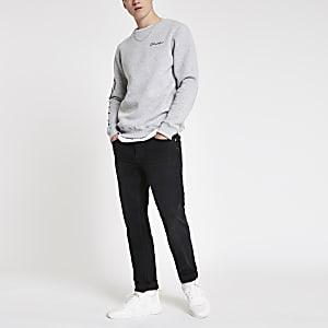 Dean - Zwarte washed jeans met rechte pijpen