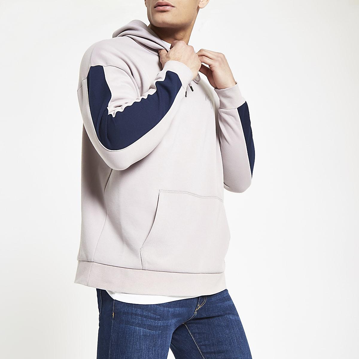 Lilac slim fit panel sleeve hoodie