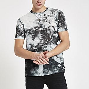 Zwart slim-fit T-shirt met olieachtige print